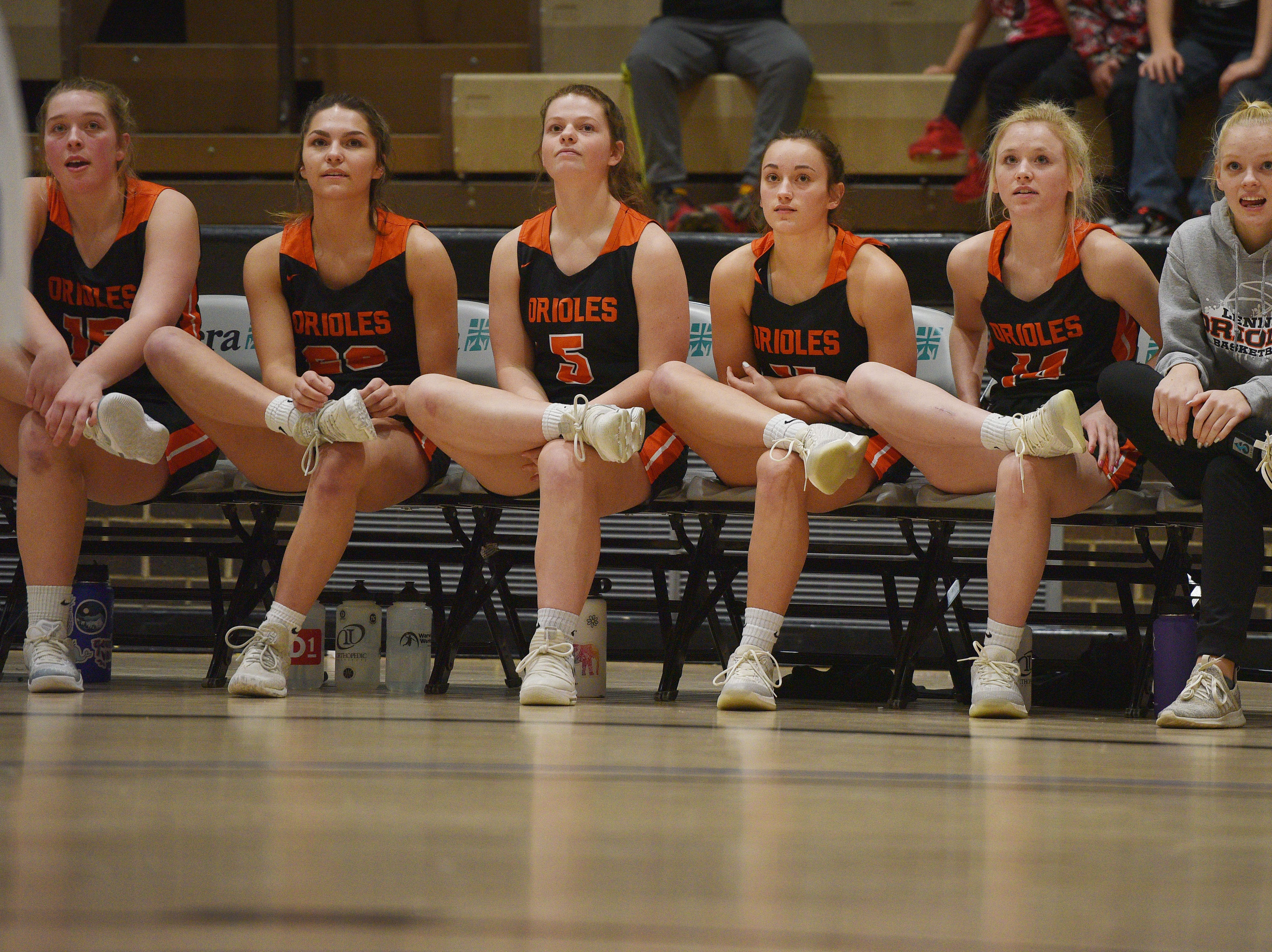 Lennox players watch free throw during the game against St. Thomas More in the Hanson Girls Classic Saturday,  Jan. 12, in Mitchell.