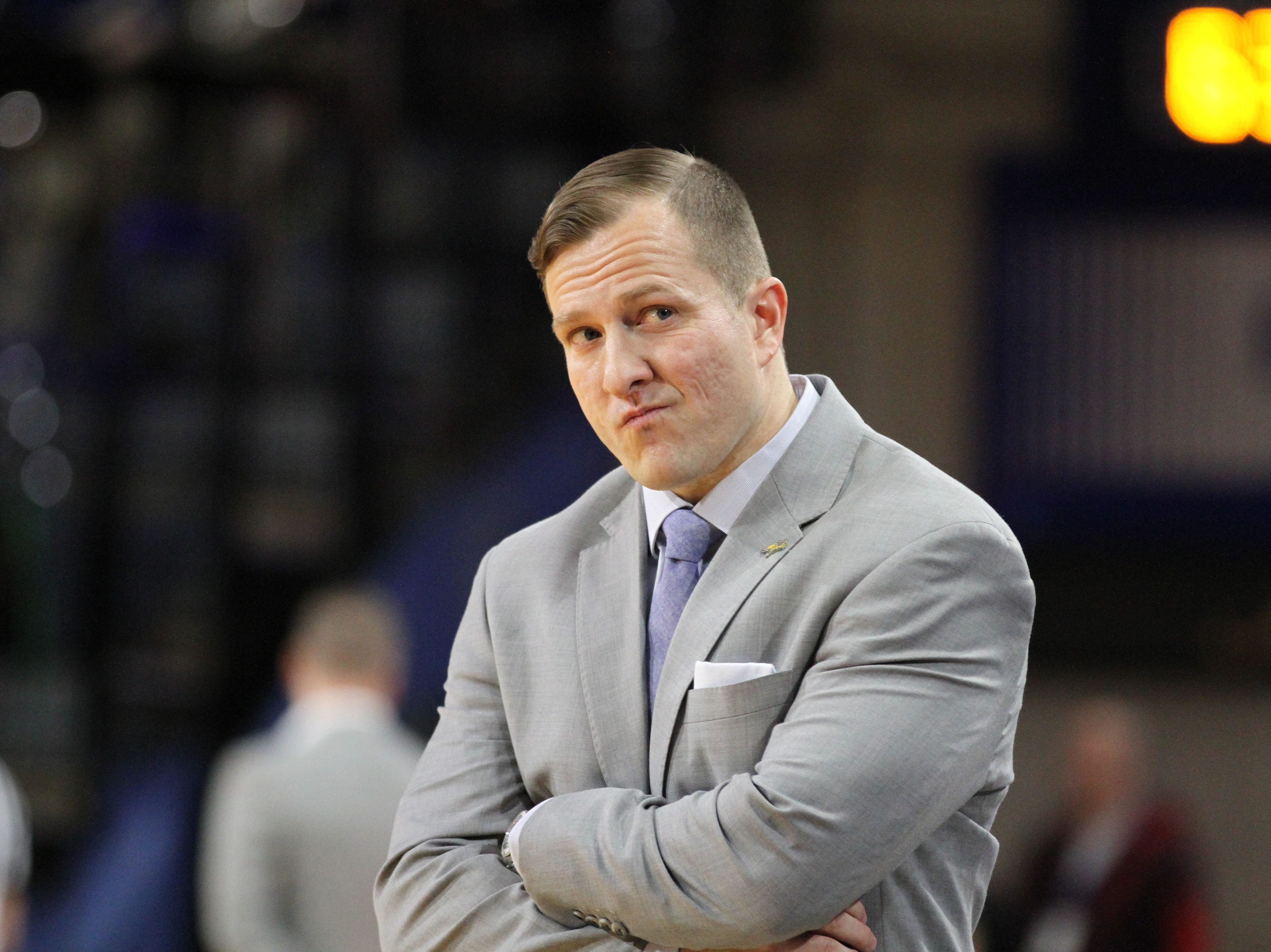 South Dakota State Head Coach T.J. Otzelberger reacts to a called foul during the second half of the Jackrabbits' matchup with Oral Roberts Saturday afternoon at Frost Arena in Brookings.