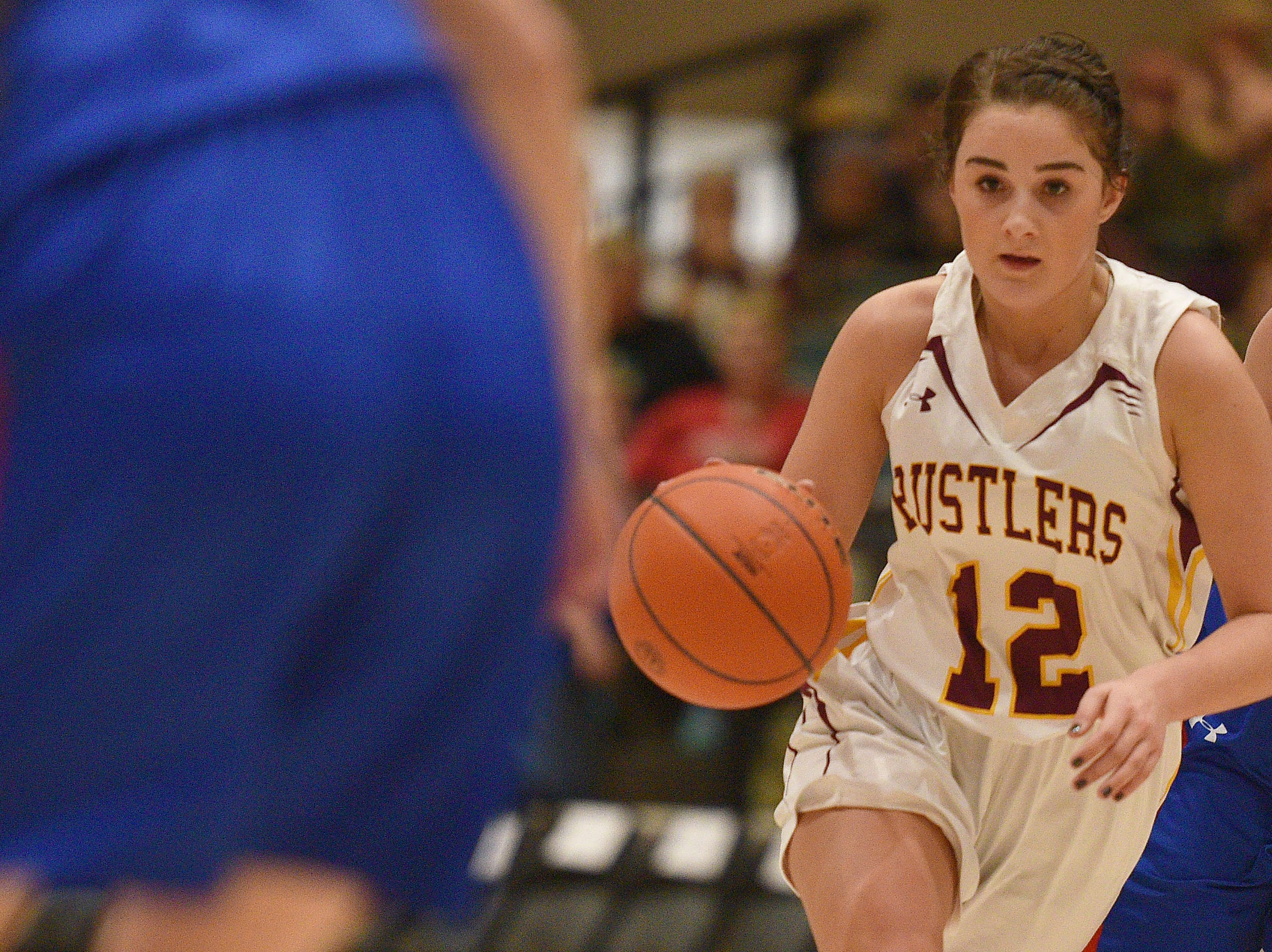 Ethan's Maddie Miiller goes against Warner defense in the Hanson Girls Classic Saturday,  Jan. 12, in Mitchell.