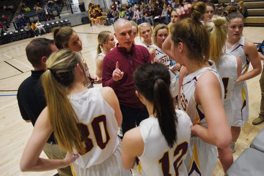 Ethan's head coach Tom Young talks to the team in a huddle during the game against Warner in the Hanson Girls Classic Saturday,  Jan. 12, in Mitchell.