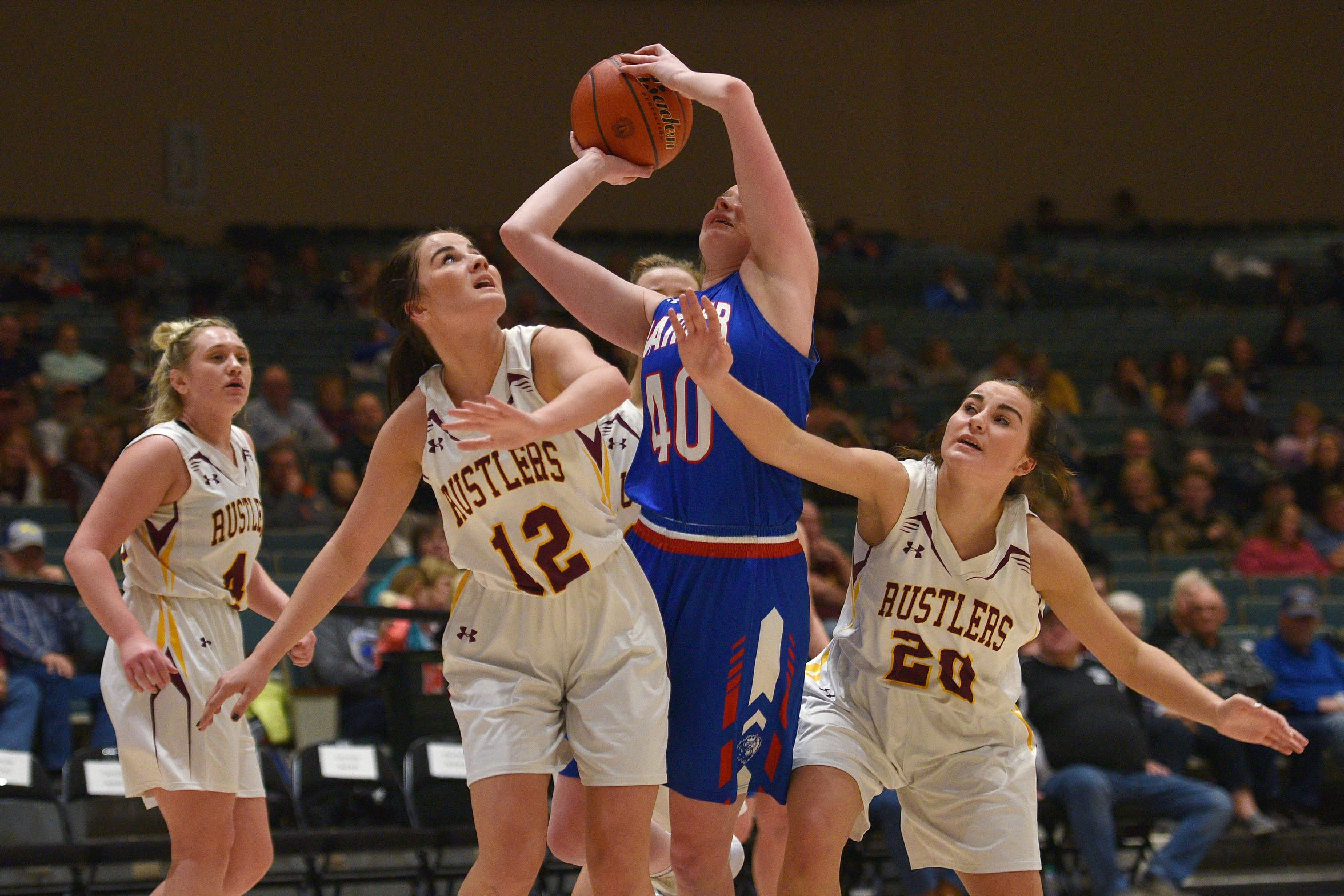 Warner's Laurie Rogers fights for a rebound against Ethan on Saturday, Jan. 12, in Mitchell.