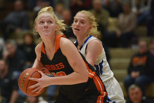 Lennox's Madysen Vlastuin goes against St. Thomas More defense in the Hanson Girls Classic Saturday,  Jan. 12, in Mitchell.