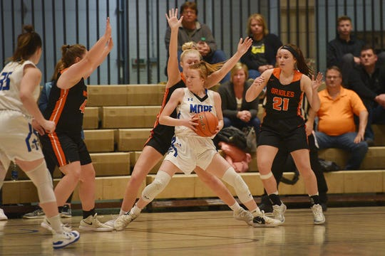 St. Thomas More's Haleigh Timmer goes against Lennox defense in the Hanson Girls Classic Saturday,  Jan. 12, in Mitchell.