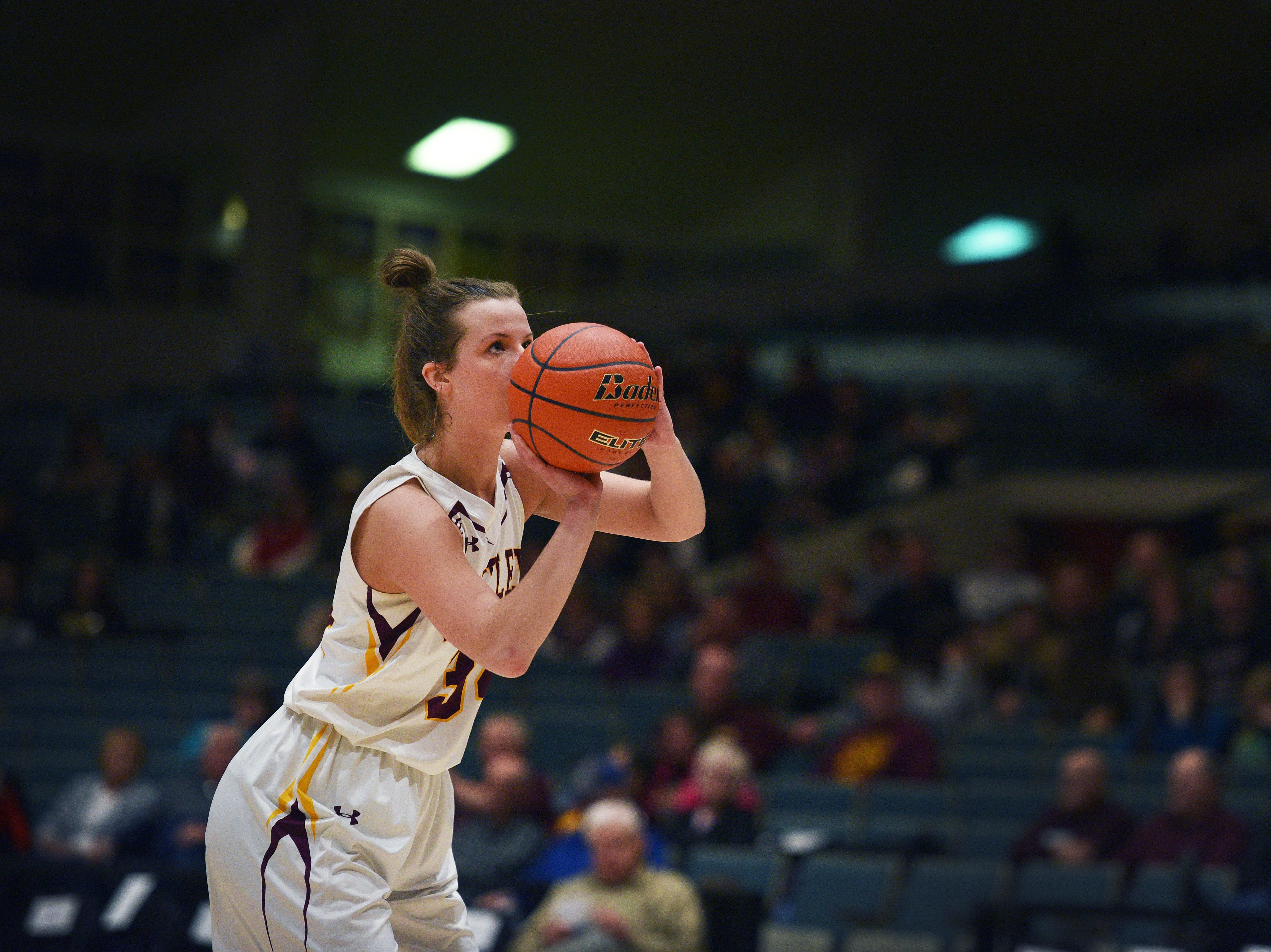 Ethan's Karly Gustafson attempts a free throw against Warner in the Hanson Girls Classic Saturday,  Jan. 12, in Mitchell.