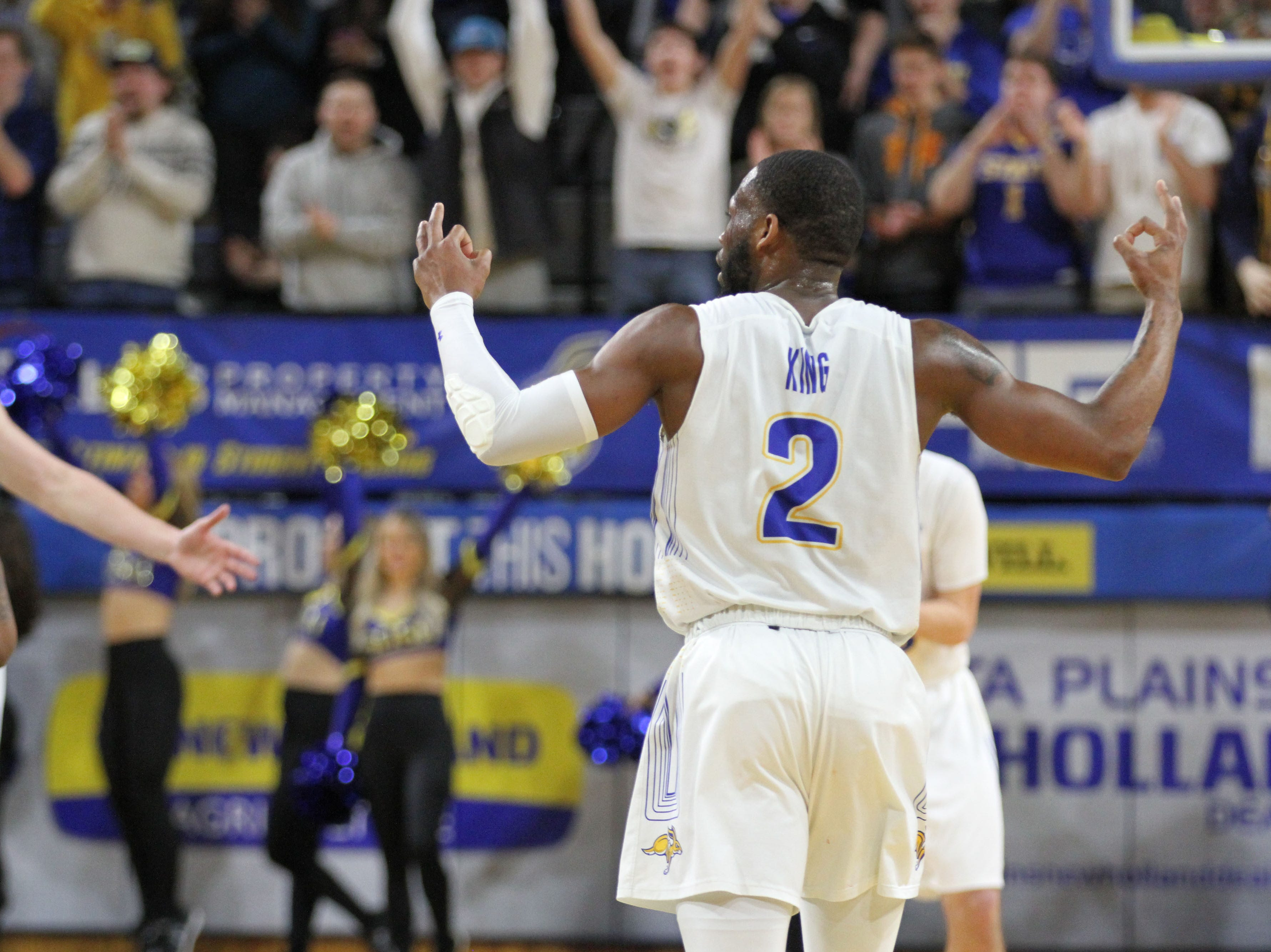 South Dakota State's Tevin King celebrates a made 3-pointer during the second half of the Jackrabbits' matchup with Oral Roberts Saturday afternoon at Frost Arena in Brookings.