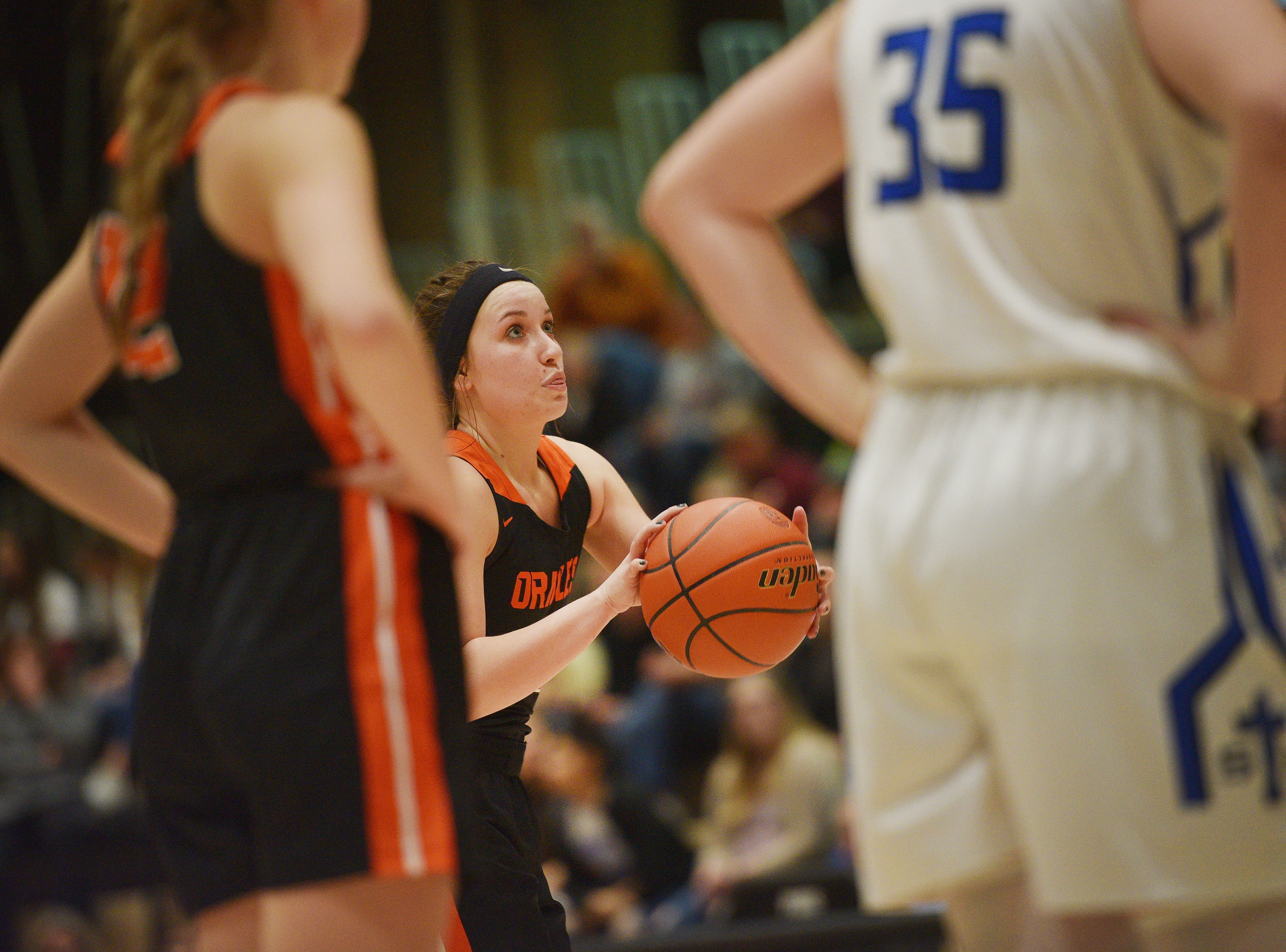Lennox's Riley Peters shoots a free throw during the game against St. Thomas More in the Hanson Girls Classic Saturday,  Jan. 12, in Mitchell.