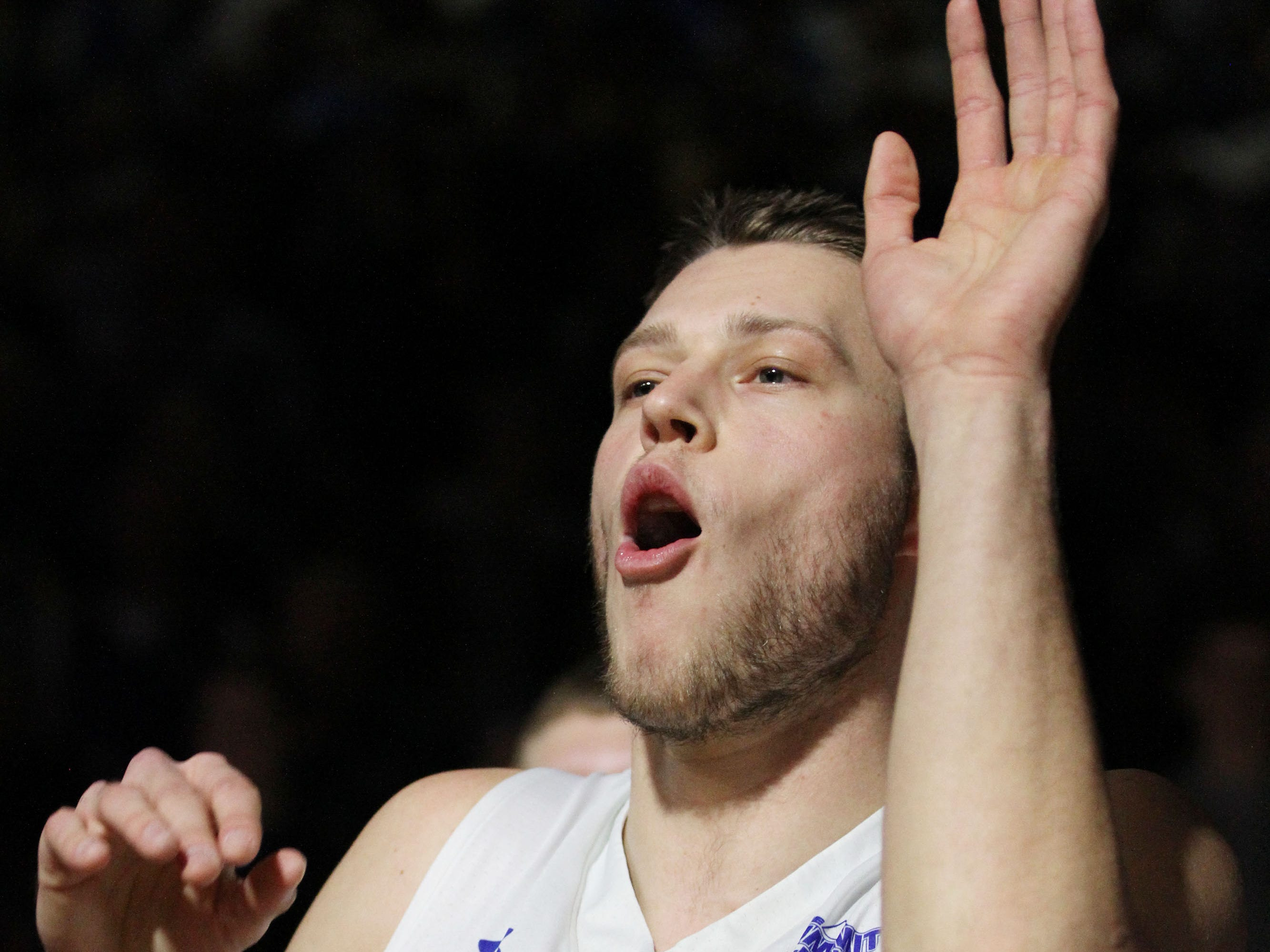 South Dakota State's Mike Daum gets fired up during introductions prior to the Jackrabbits' matchup with Oral Roberts Saturday afternoon at Frost Arena in Brookings.