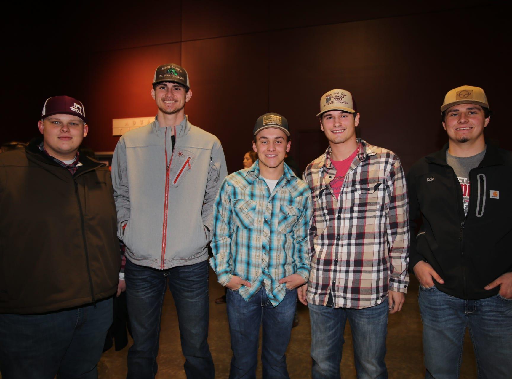 Cody Dale, Ryan Liska, Carson Cooper, John Felker, and Kole Kuster
