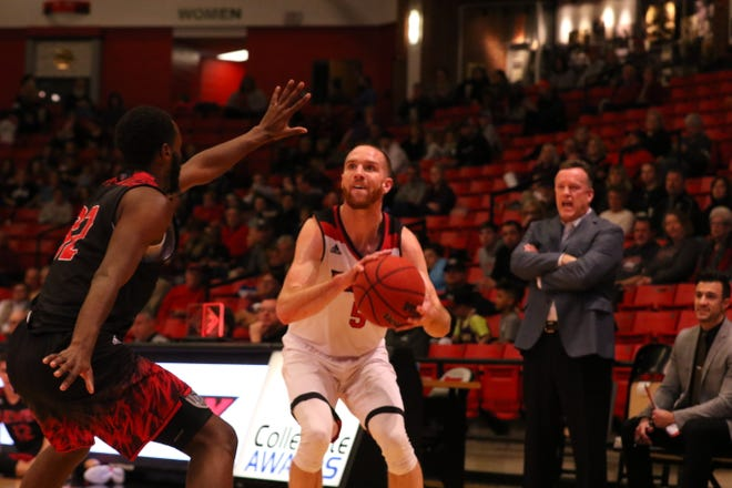 Drury guard Andrew Ballock, a senior from Eudora, Kansas, scored 13 points during Saturday's game against Lewis.