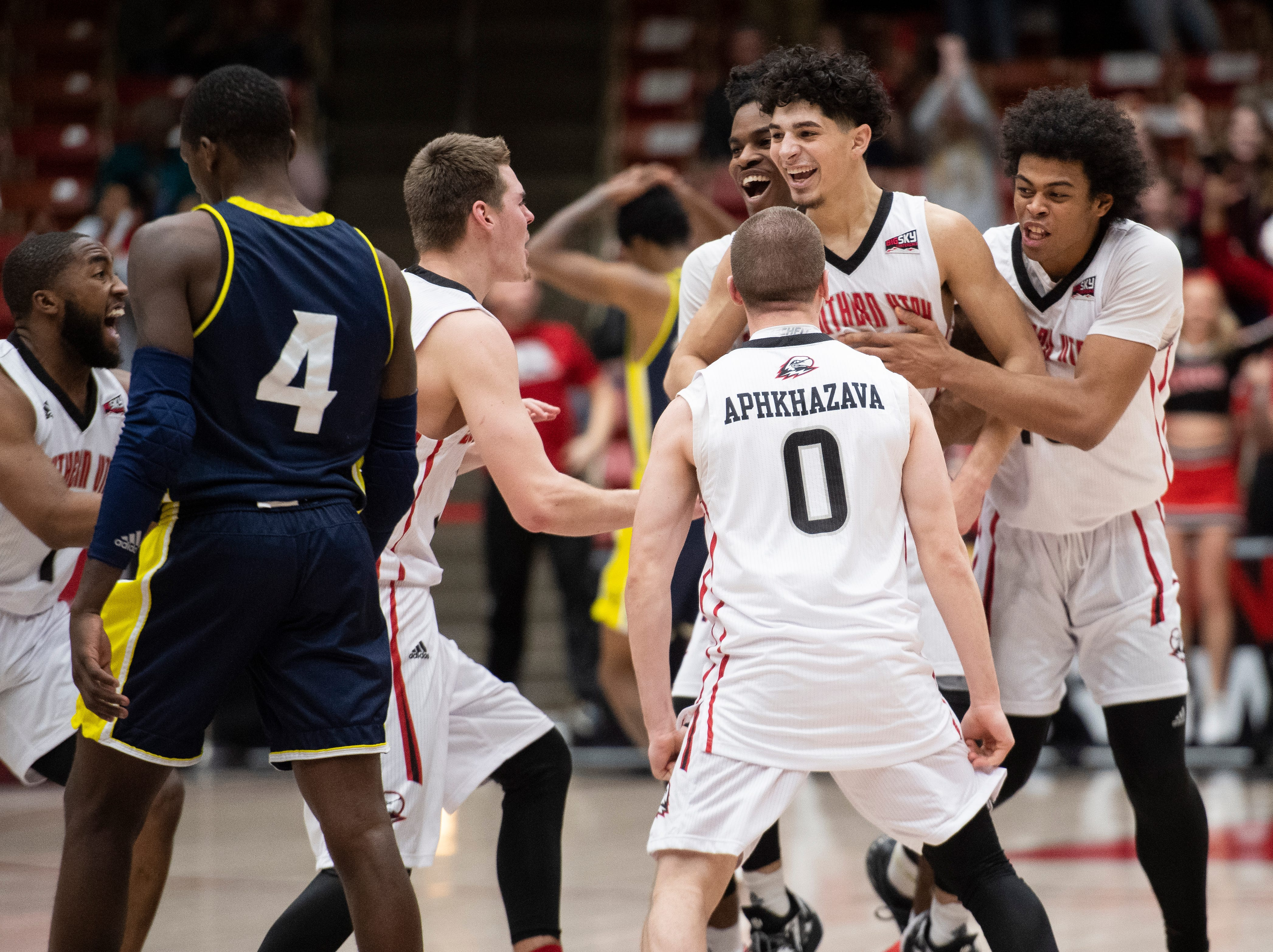 Southern Utah University celebrates a buzzer-beating win against rival Northern Arizona at the America First Event Center Saturday, January 12, 2019. SUU won, 84-82.