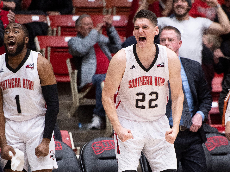Southern Utah University junior Ivan Madunic (22) celebrates winning against rival Northern Arizona at the America First Event Center Saturday, January 12, 2019. SUU won, 84-82.