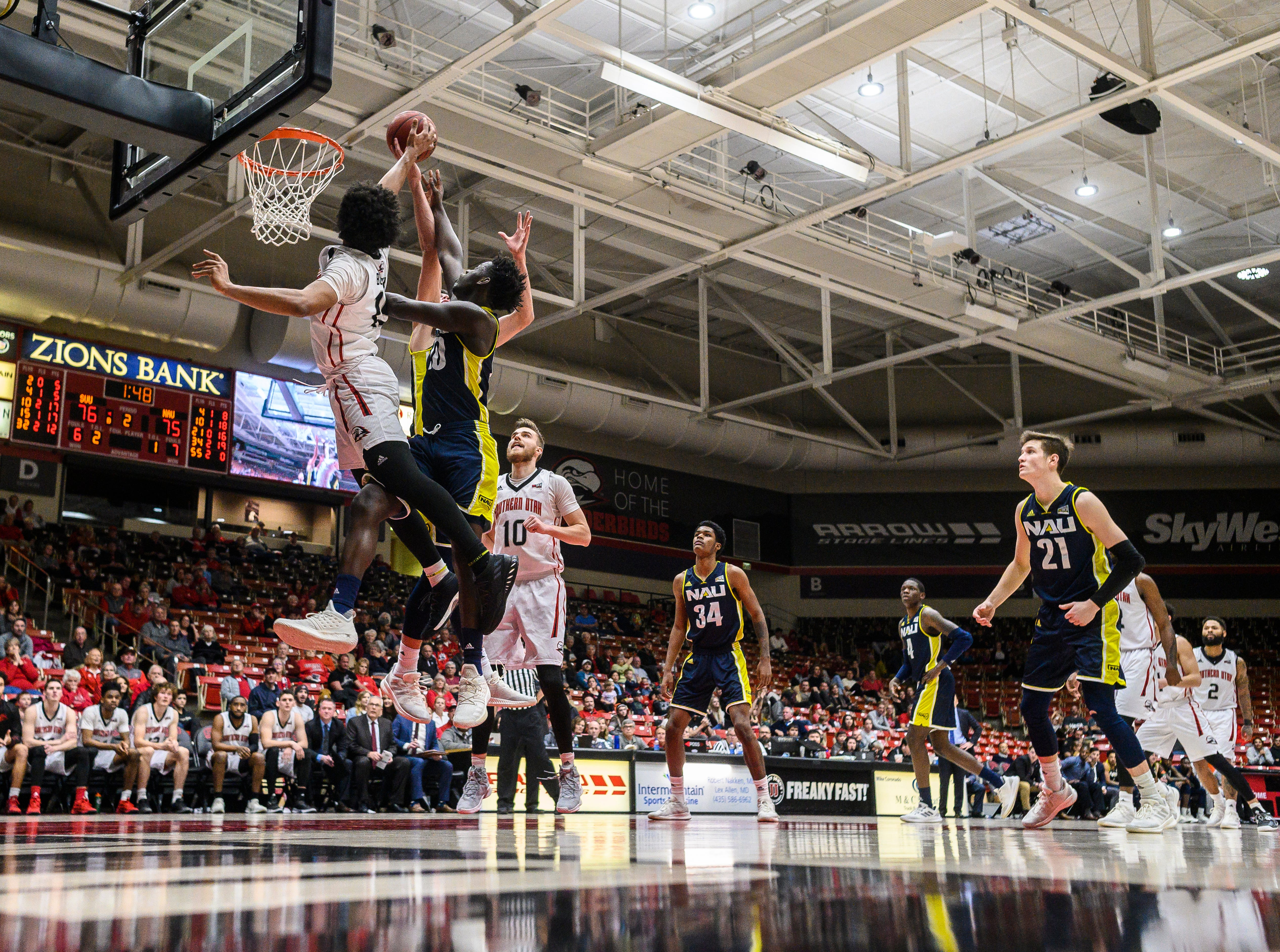 Southern Utah University plays against rival Northern Arizona at the America First Event Center Saturday, January 12, 2019. SUU won, 84-82.