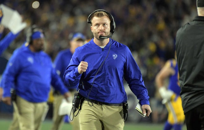 Rams head coach Sean McVay is pumped during his team's playoff win over the Cowboys on Saturday night.