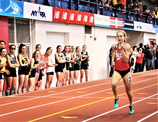 Katelyn Tuohy runs blistering 4x800 relay anchor to lead North Rockland to a come-from-behind win at the 2019 Stanner Games.