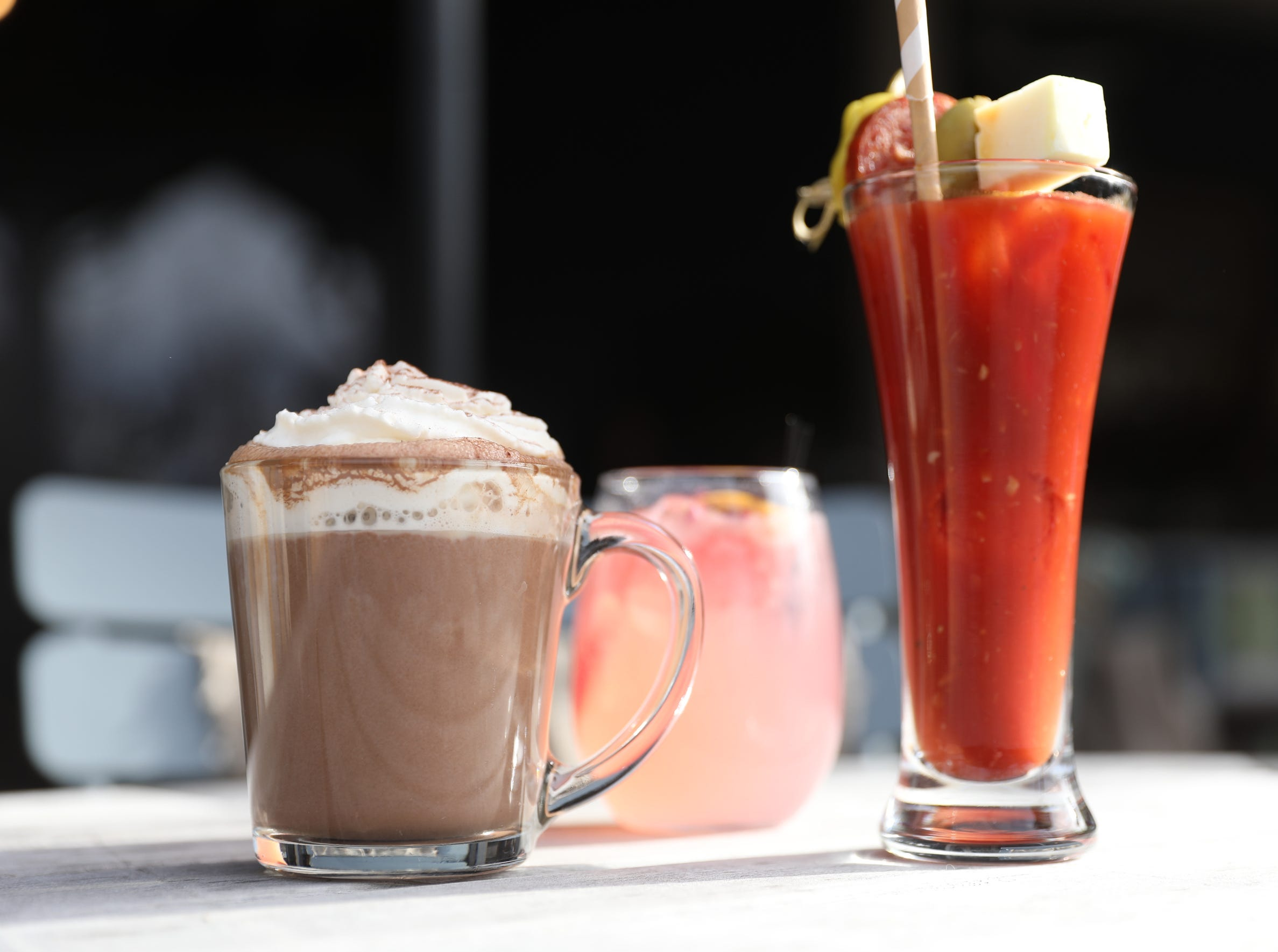 A spiked hot chocolate, a bloody mary and a rose paloma at the Valley Rock Inn & Mountain Club in Sloatsburg on Saturday, January 12, 2019.
