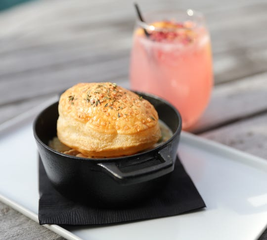 The chicken pot pie and rose paloma cocktail at the Valley Rock Inn & Mountain Club in Sloatsburg on Saturday, January 12, 2019.