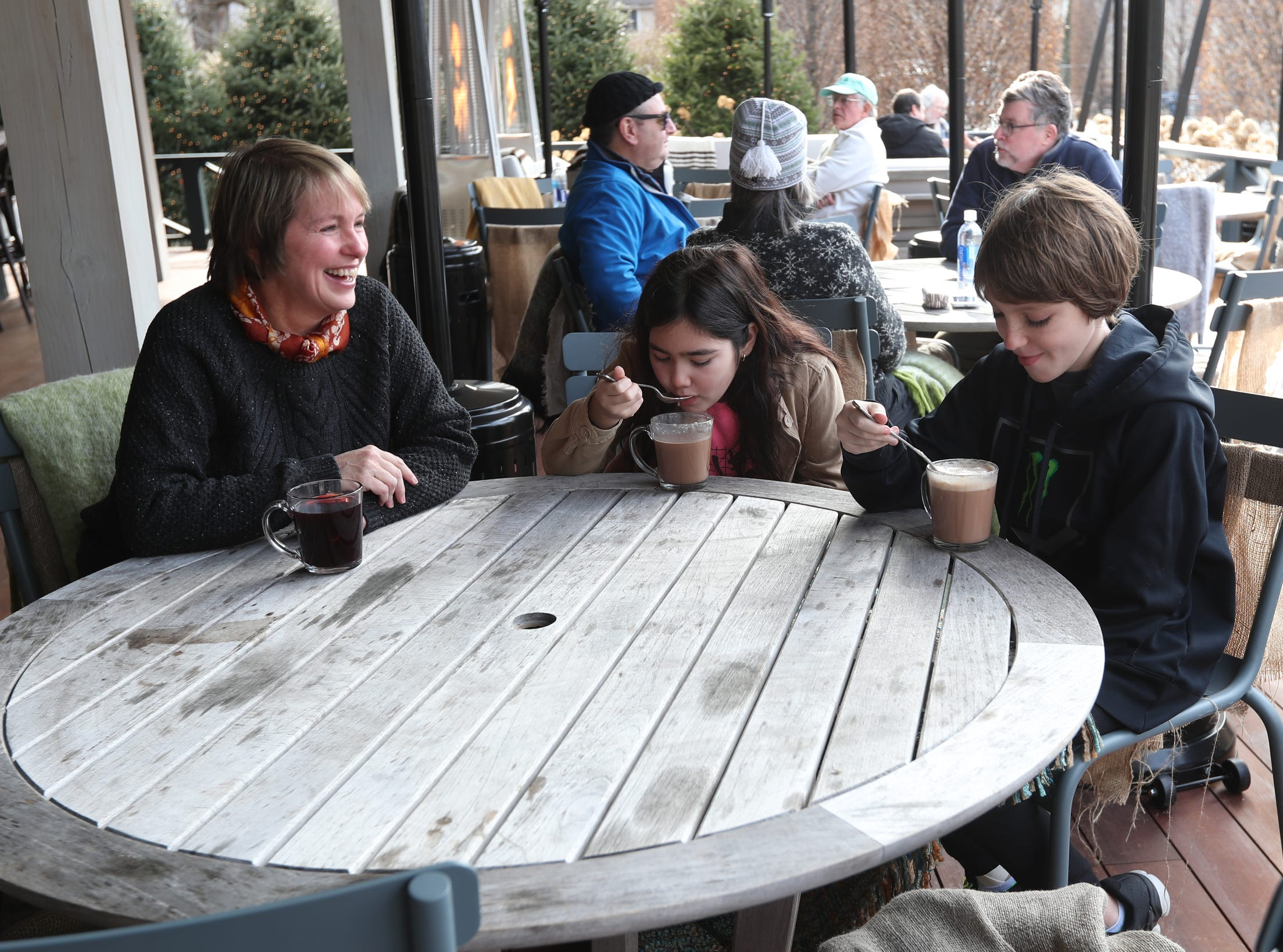 Kelly Spranger, left, of Tuxedo with Kylie Arcuni and Chris Ahart enjoy an afternoon at the Valley Rock Inn & Mountain Club in Sloatsburg on Saturday, January 12, 2019.