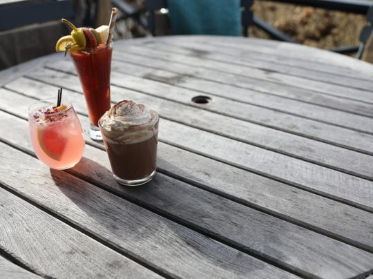 The rose paloma, a spiked hot chocolate and a bloody mary at the Valley Rock Inn & Mountain Club in Sloatsburg on Saturday, January 12, 2019.