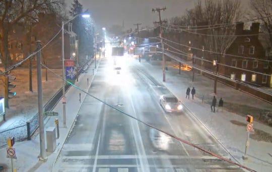 Snow falling in Newark at 11:30 p.m. Saturday