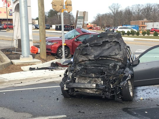A 75-year-old Claymont man died following a two-car crash at the entrance to Talleyville Shopping Center in Talleyville on Saturday, Jan. 12, 2019.