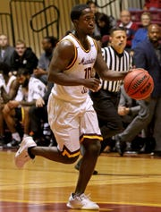 Midwestern State's Terrell Wilson dribbles in the game against Western New Mexico Saturday, Jan. 12, 2019, in D.L. Ligon Coliseum.