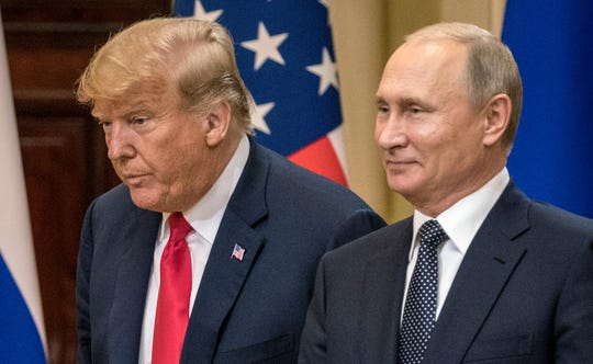 President Donald Trump and Russian President Vladimir Putin at a joint press conference after their summit on July 16, 2018, in Helsinki, Finland.