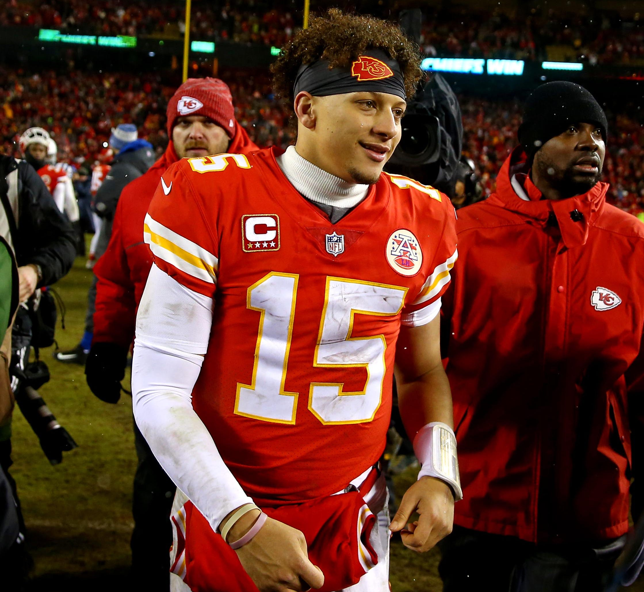 Chiefs quarterback Patrick Mahomes heads off the field after beating the  Colts in an AFC divisional playoff  game Saturday.