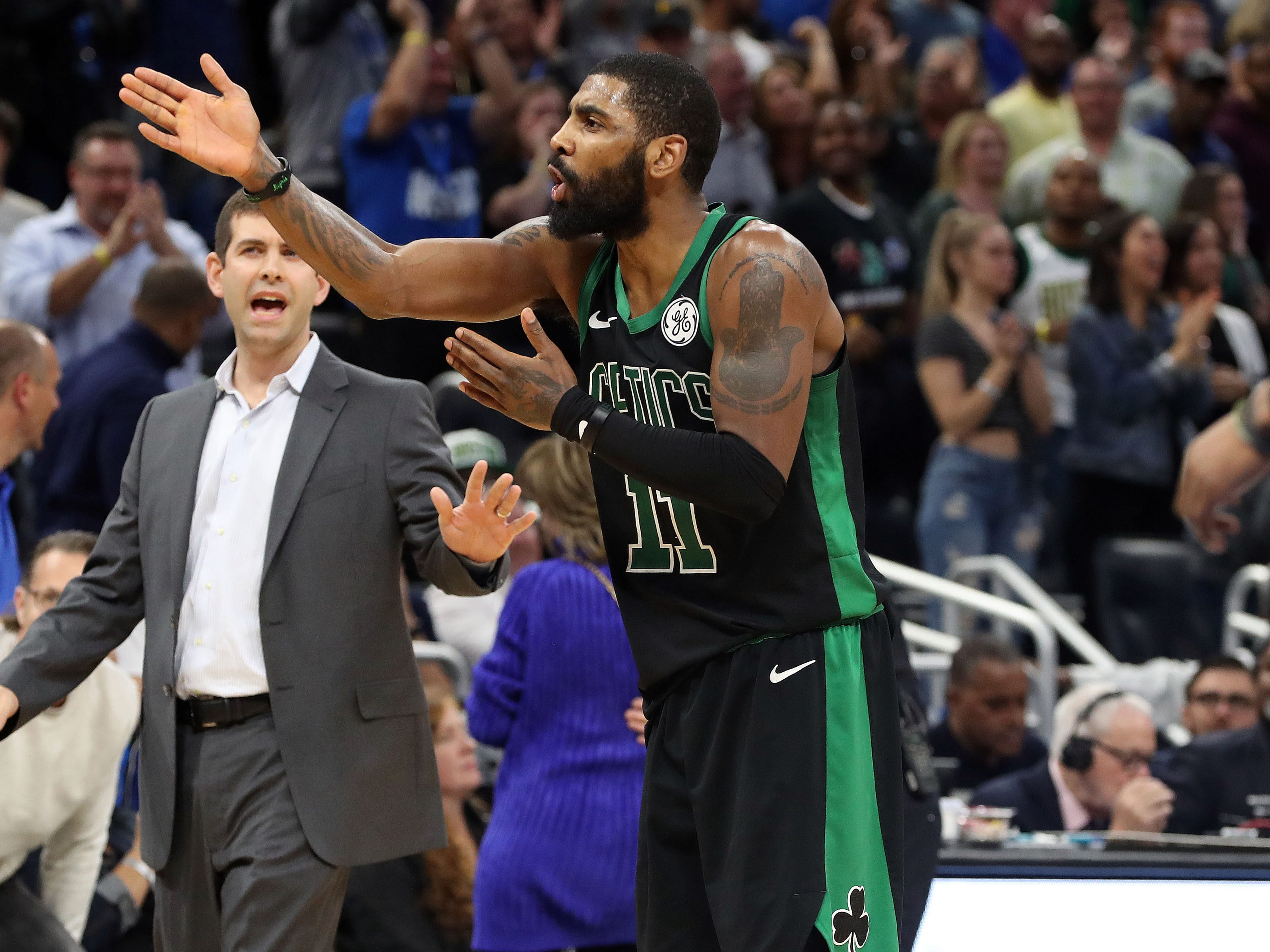 Jan. 12: Celtics guard Kyrie Irving expresses his frustration with not touching the ball on the final possession of a close loss to the Magic.