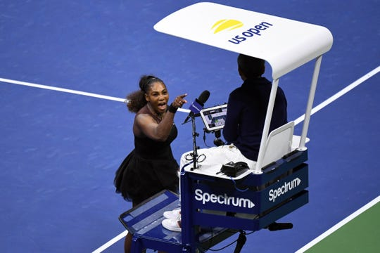 Serena Williams yells at chair umpire Carlos Ramos in the women's final against Naomi Osaka during the 2018 U.S. Open.