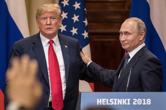 Presidents Donald Trump and Vladimir Putin in Helsinki on July 16, 2018.