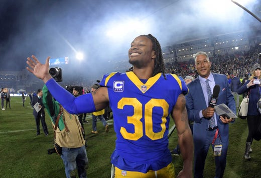Los Angeles Rams running back Todd Gurley (30) celebrates after beating the Dallas Cowboys.
