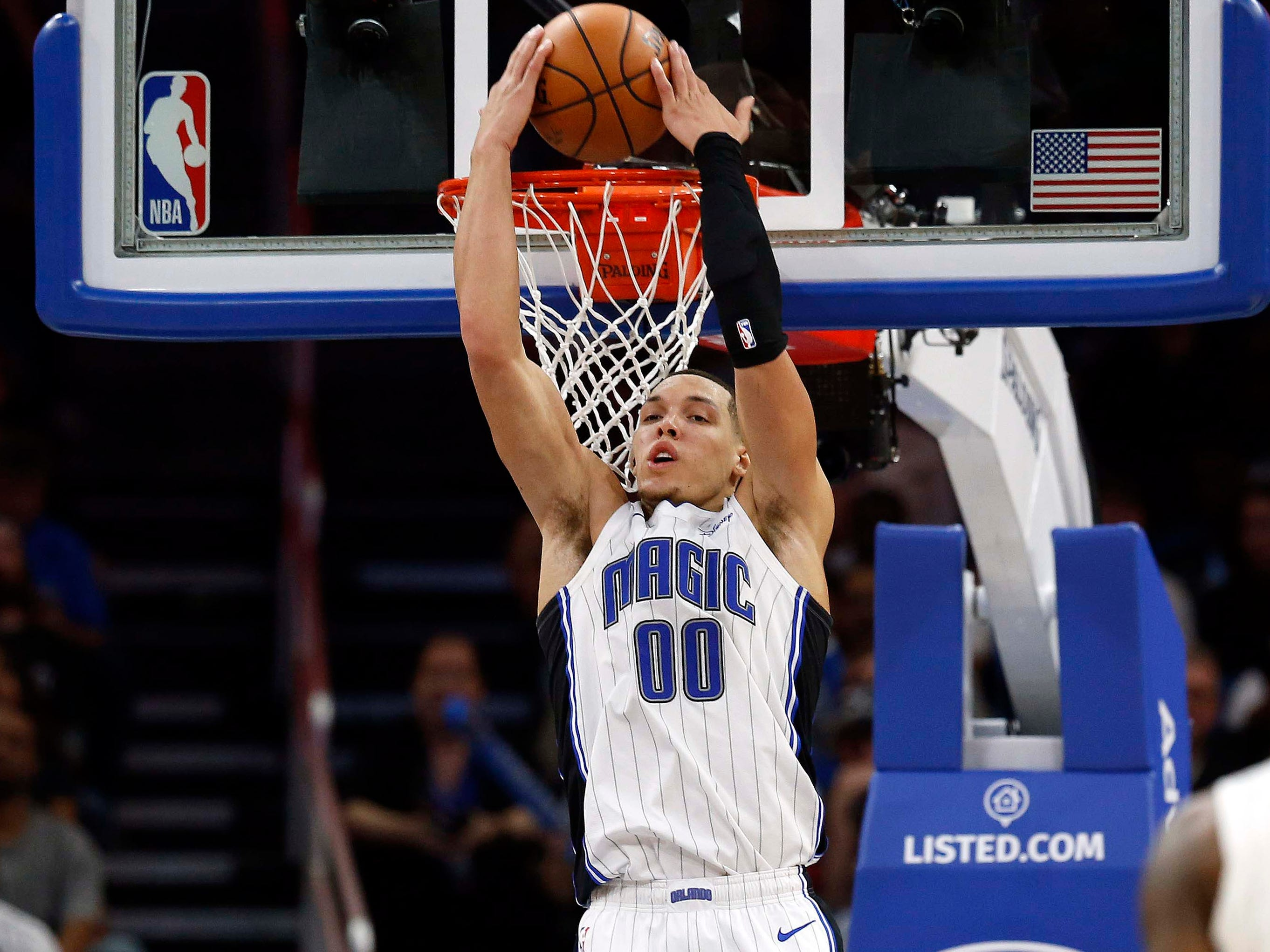 Jan. 12: Magic forward Aaron Gordon throws down a two-handed reverse against the Celtics in Orlando.