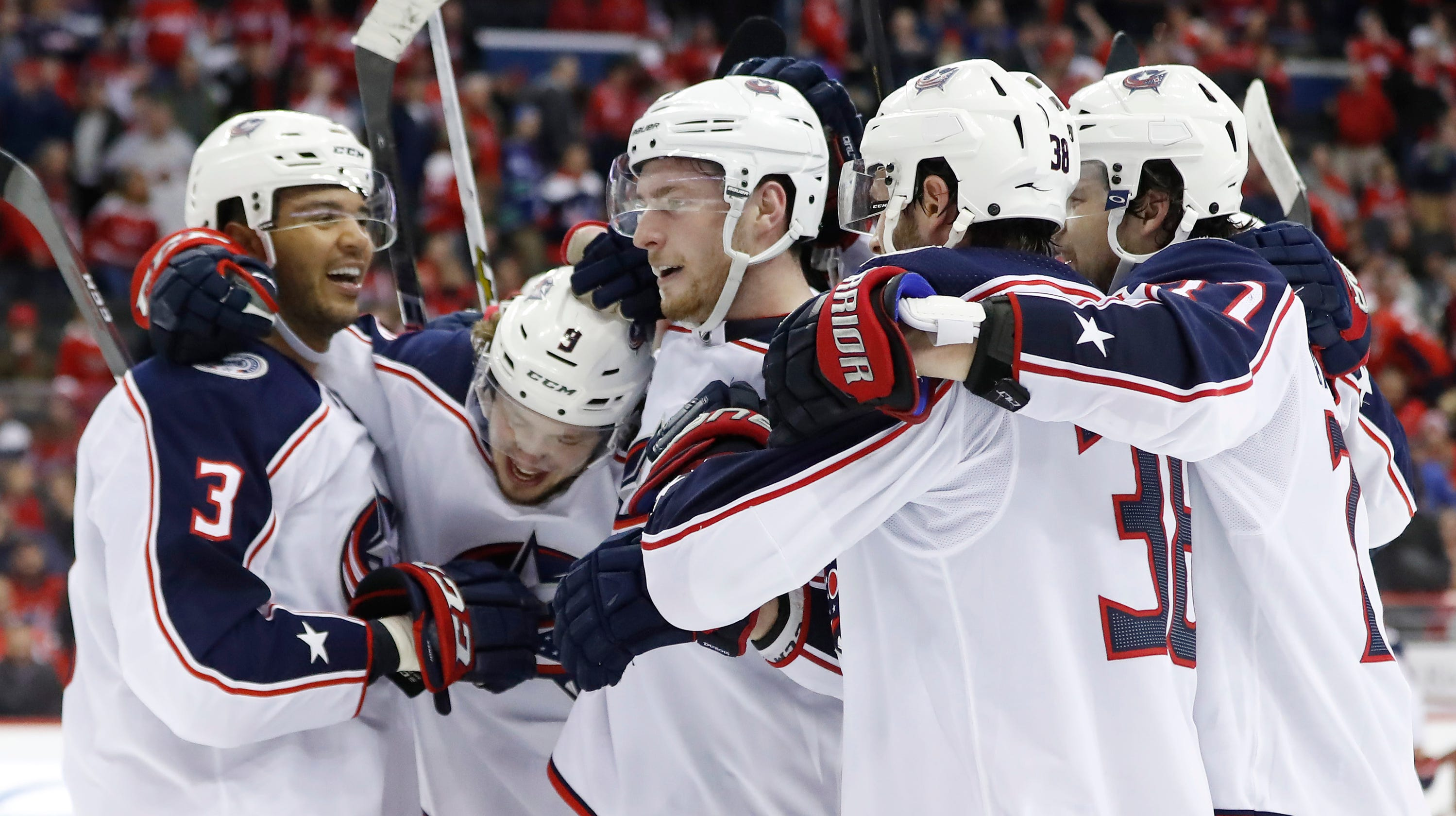 38011fe05d6 Blue Jackets copy Capitals star Evgeny Kuznetsov s celebration after  winning in overtime