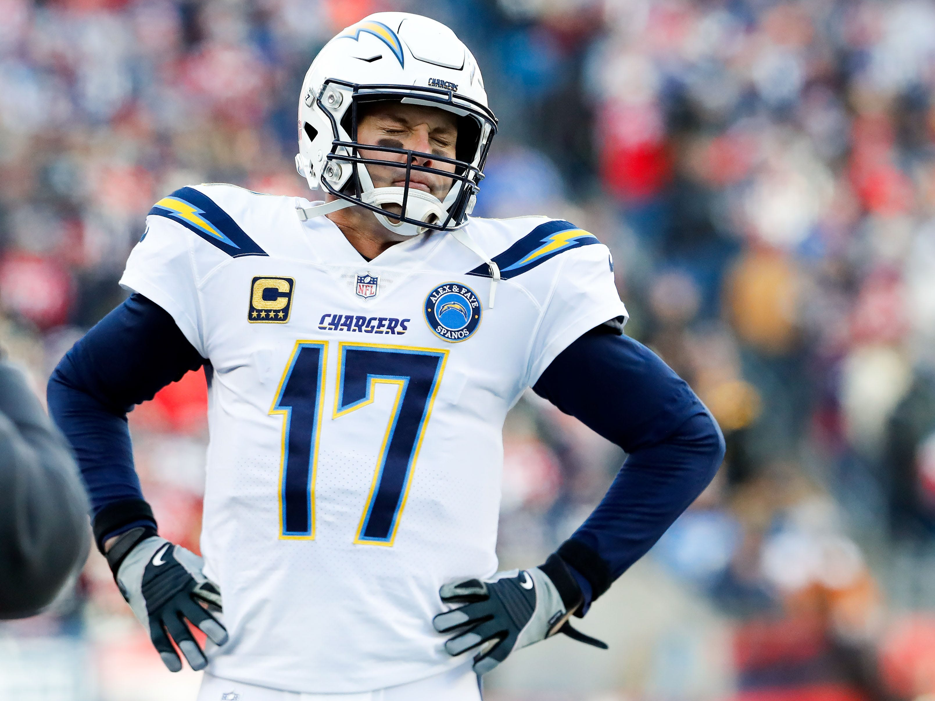 Los Angeles Chargers quarterback Philip Rivers (17) reacts from the sidelines during the second quarter against the New England Patriots in an AFC Divisional playoff football game at Gillette Stadium.