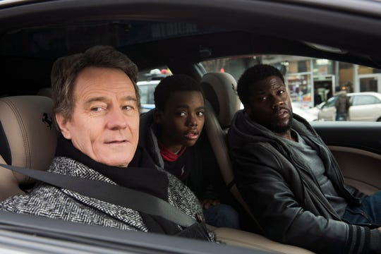 "Bryan Cranston, from left, Jahi Di'Allo Winston and Kevin Hart in ""The Upside."""