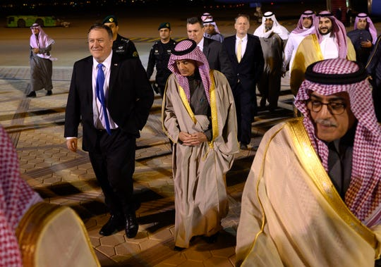 U.S. Secretary of State Mike Pompeo, left, is greeted by Saudi's Minister of State for Foreign Affairs Adel al-Jubeir in Riyadh, Saudi Arabia, on Sunday, Jan. 13, 2019, during his Middle East tour.