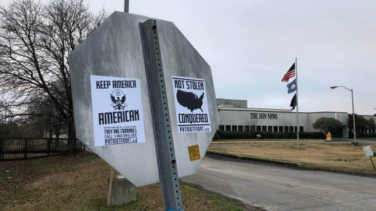 Flyers promoting the white supremacist Patriot Front group appeared on stop signs and light poles outside McClatchy Co.'s The Sun News newspaper in Myrtle Beach, South Carolina over the weekend on Jan. 11, 2019.