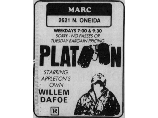 "This ad for ""Platoon"" ran in The Post-Crescent in 1987."