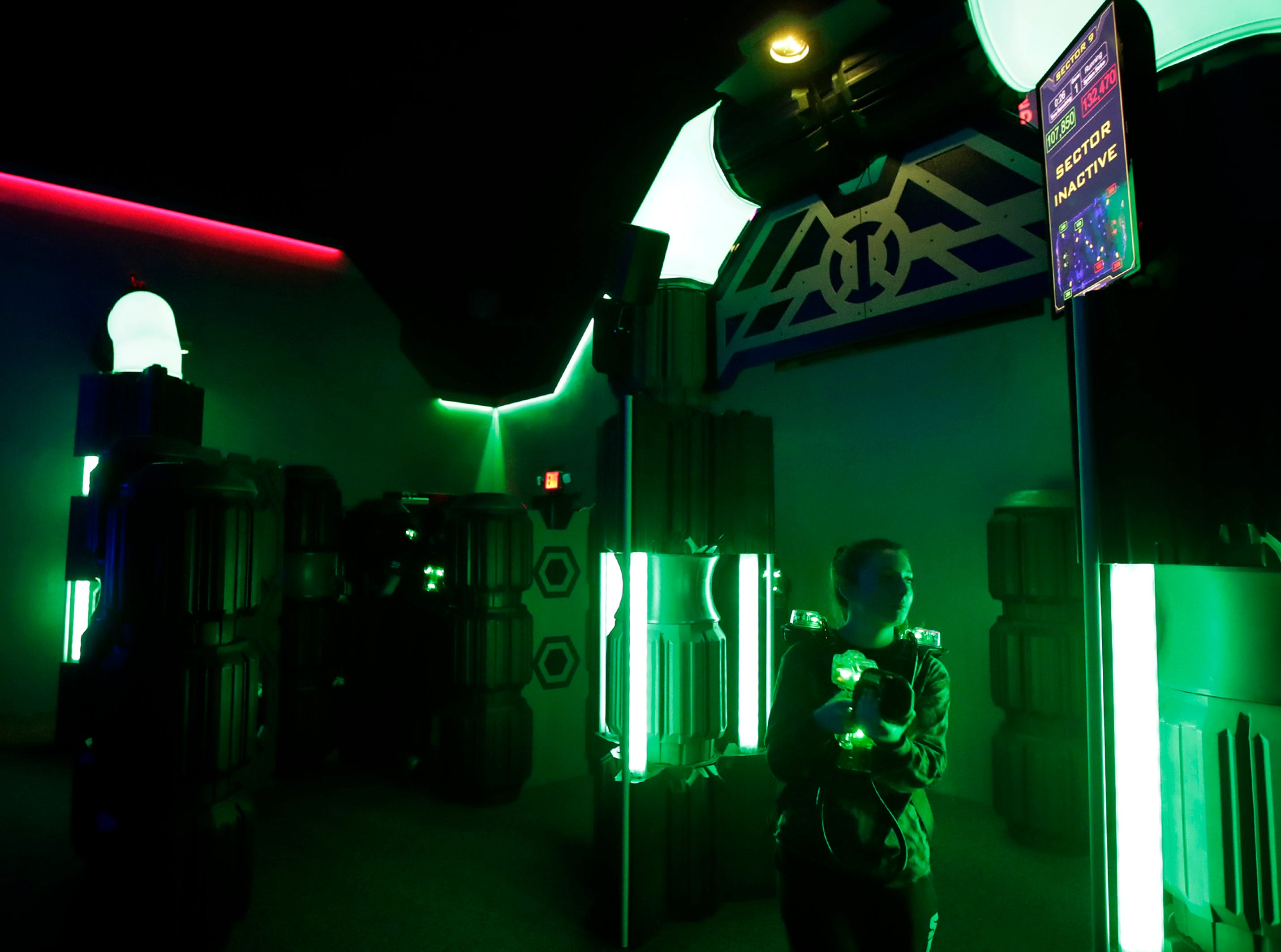 Jordann Thiel, a senior at Kimberly High School, plays a round of laser tag at Badger Sports Park during a Lifetime Sports and Fitness physical education class with Kimberly High School Tuesday, Jan. 8, 2019, Appleton, Wis. Badger Sports Park's laser tag facilities were remodeled in late November. 