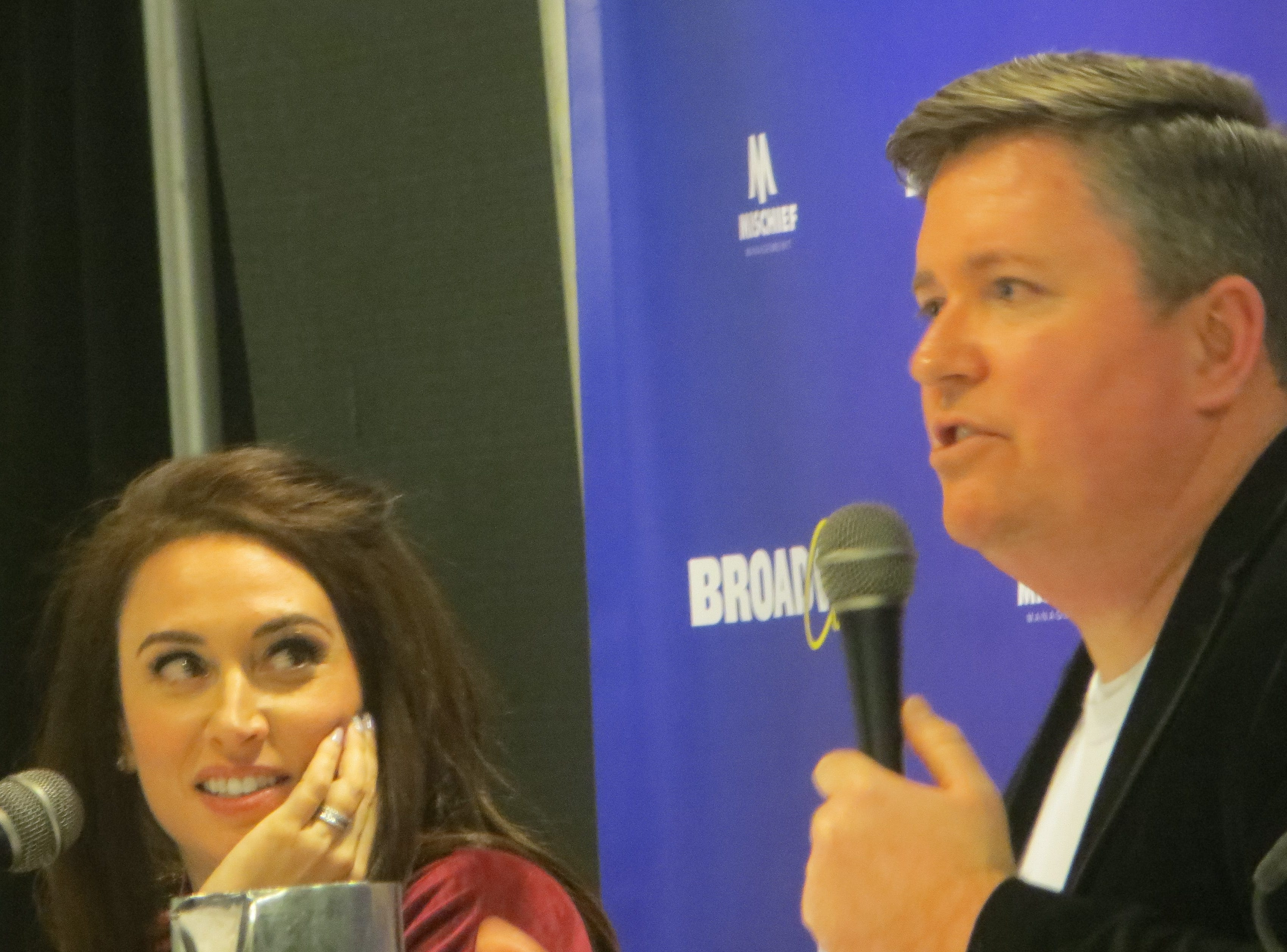 Lesli Margherita and Brian Reavey of Retreat to Broadway speak during at panel at BroadwayCon 2019, held Jan. 11 to 13, 2019, at the New York Hilton Midtown in Manhattan.