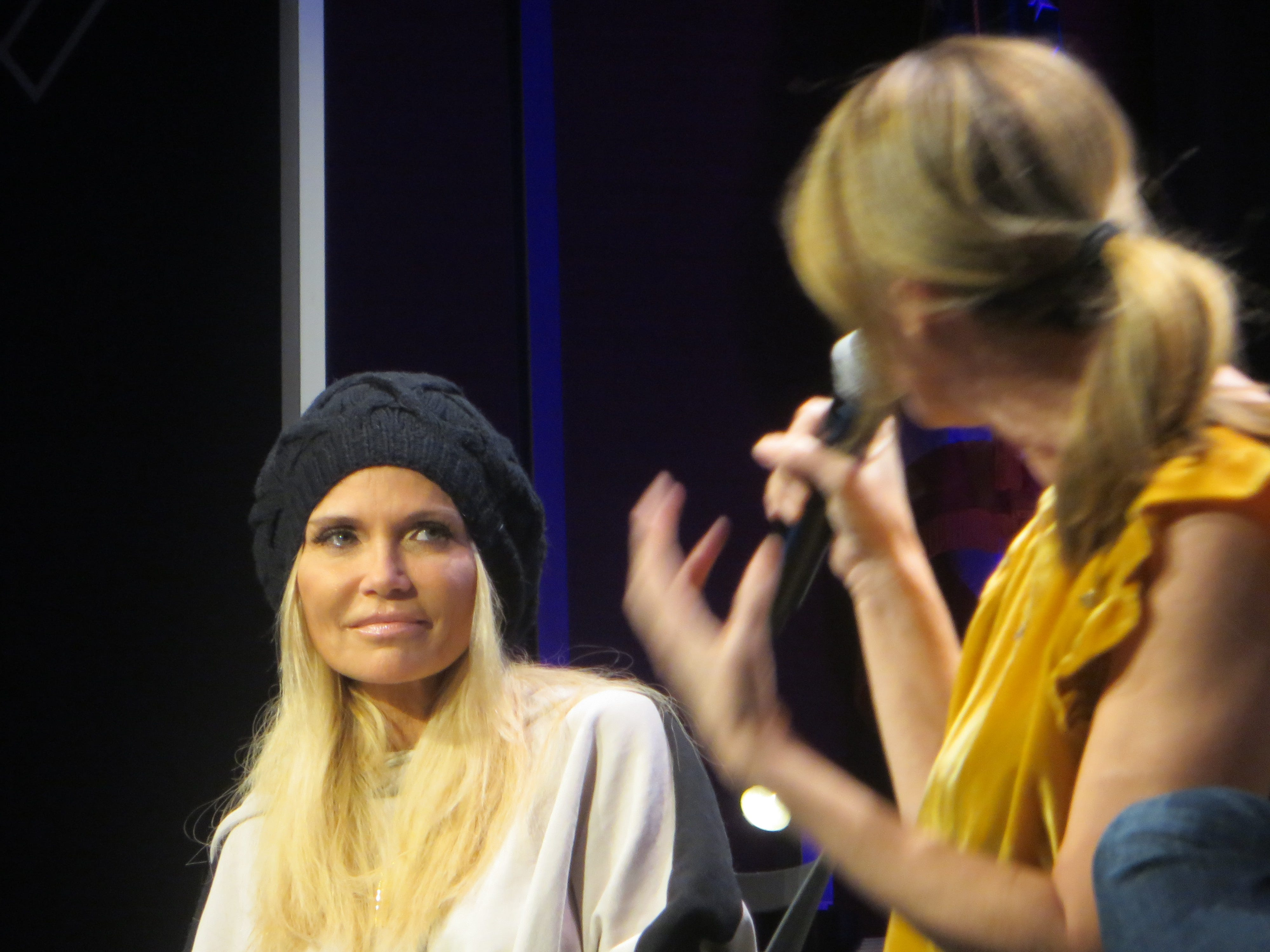 "Kristin Chenoweth speaks with Ilana Levine during the ""You're A Good Man, Charlie Brown"" reunion panel at   BroadwayCon 2019, held Jan. 11 to 13, 2019, at the New York Hilton Midtown in Manhattan."