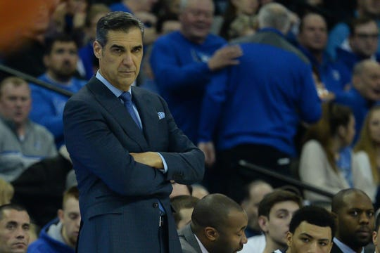 Villanova Wildcats head coach Jay Wright watches action against the Creighton Bluejays in the second half at CHI Health Center Omaha.