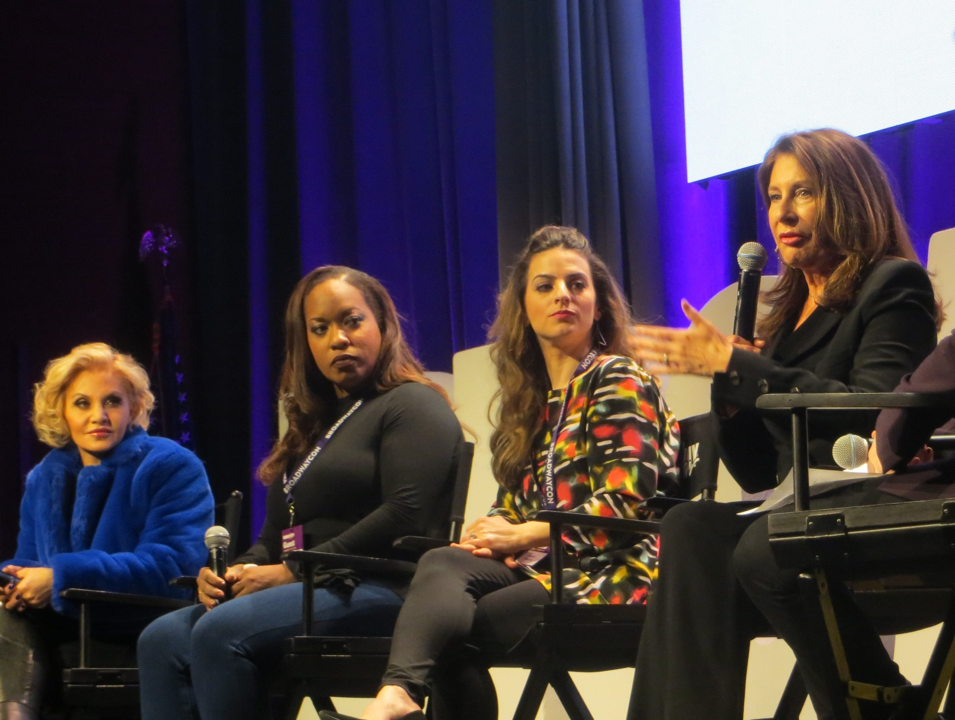 "Cast and creative team members of ""Pretty Woman"" speak during a spotlight at BroadwayCon 2019, held Jan. 11 to 13, 2019, at the New York Hilton Midtown in Manhattan."