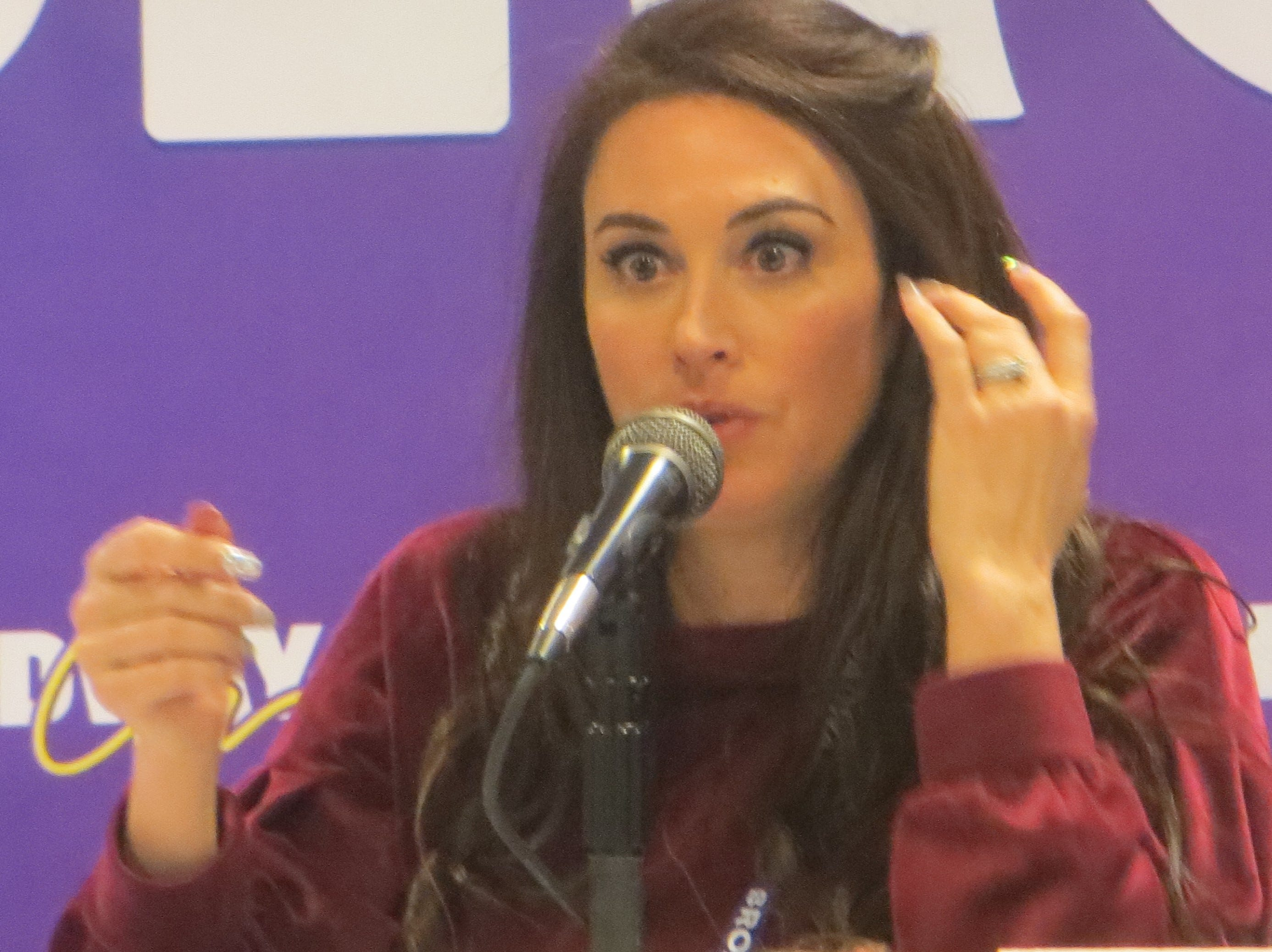 Lesli Margherita speaks during a panel at BroadwayCon 2019, held Jan. 11 to 13, 2019, at the New York Hilton Midtown in Manhattan.