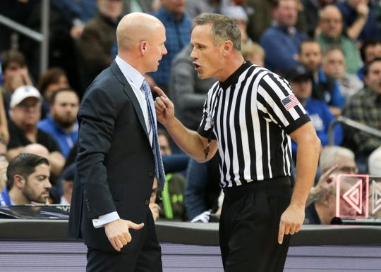 Seton Hall Pirates head coach Kevin Willard talks with an official during the second half against the Butler Bulldogs at Prudential Center.