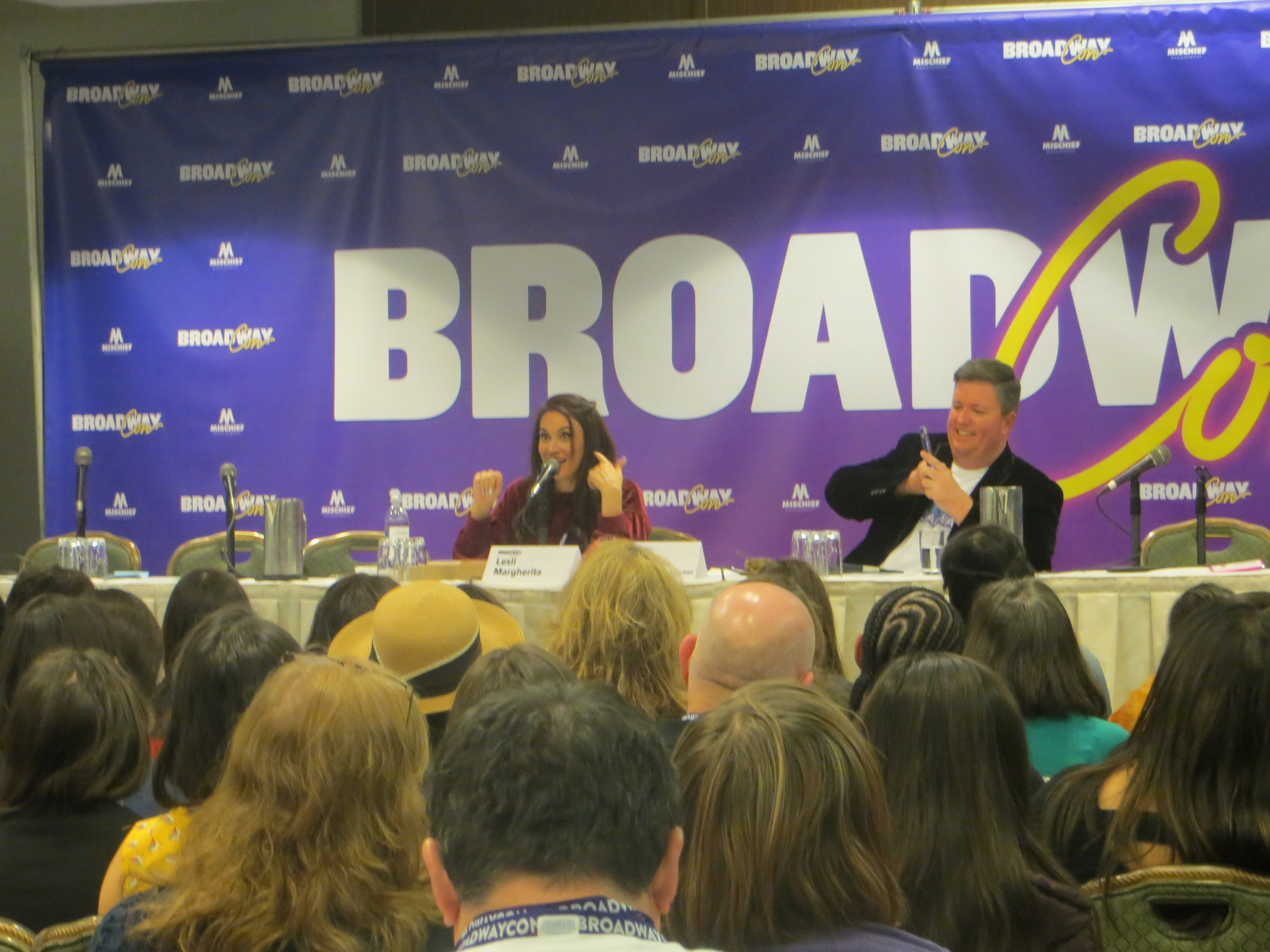 Lesli Margherita and Brian Reavey of Retreat to Broadway at BroadwayCon 2019, held Jan. 11 to 13, 2019, at the New York Hilton Midtown in Manhattan.