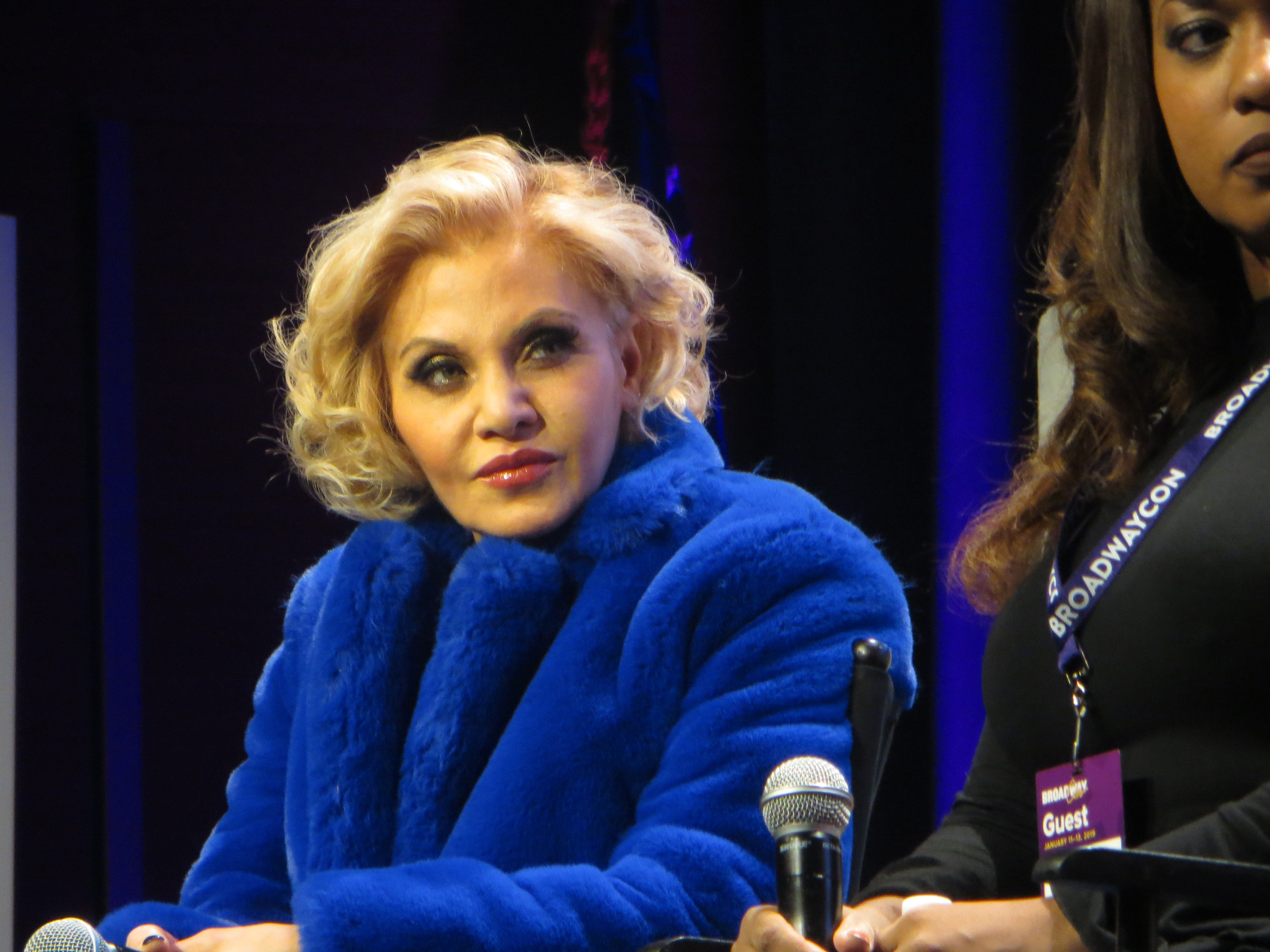 "Orfeh listens during a ""Pretty Woman"" musical spotlight at BroadwayCon 2019, held Jan. 11 to 13, 2019, at the New York Hilton Midtown in Manhattan."