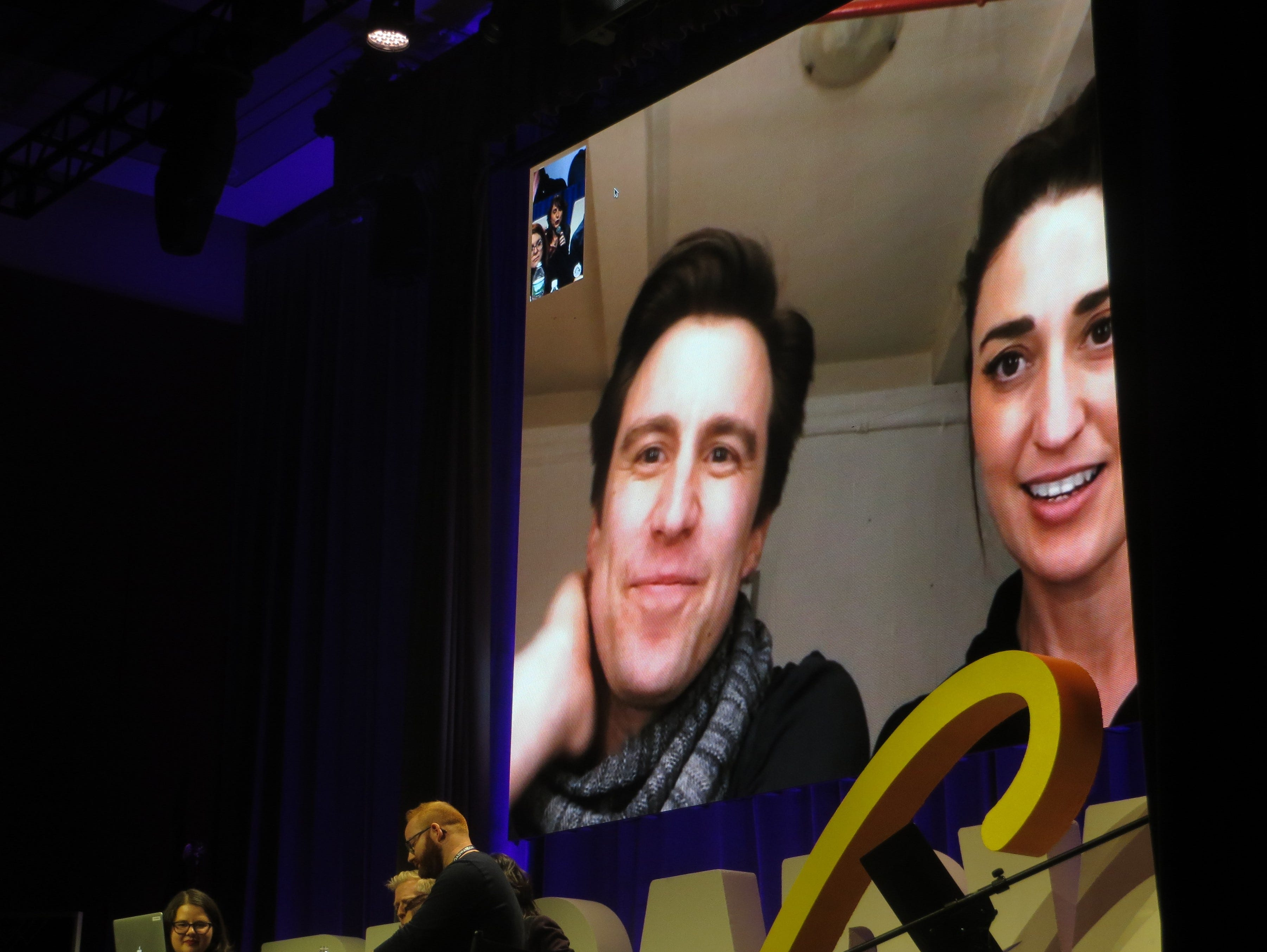 Gavin Creel and Sara Bareilles Facetime the audience during the Blizzard Party Line at BroadwayCon 2019, held Jan. 11 to 13, 2019, at the New York Hilton Midtown in Manhattan.