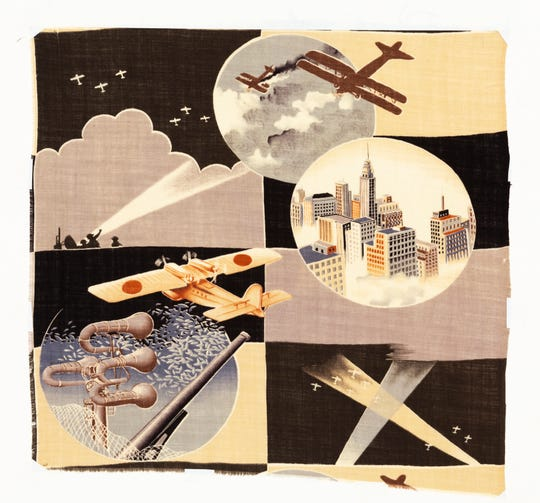 """This Japanese textile fragment is part of the """"Designed to Mobilize: Propaganda Kimono 1920-1945"""" exhibit at Florida Tech's Funk Center."""