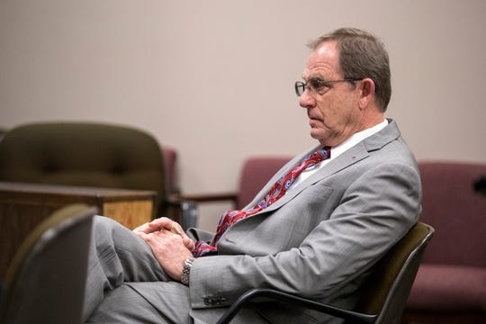 Former Judge Guy Williams waits for a hearing to start before Bexar County visiting Judge Sid Harle on Williams' misdemeanor resisting arrest case on Monday, January 14, 2019 at the Nueces County Courthouse.
